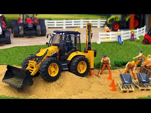 Video BRUDER TOYS video for KIDS | Tractor JCB 5CX for CHILDREN works at road! download in MP3, 3GP, MP4, WEBM, AVI, FLV January 2017