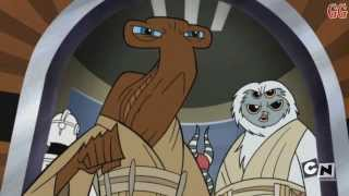 This is a Cartoon Network Micro-Mini Series from 2003-2005. It takes place in between Star Wars Episode 2 Attack of the Clones and Revenge of the SithThis is Season 3 Episode 4Episode Description: Jedi Shaak Ti, Roron Corobb and Foul Moudama fight to keep Supreme Chancelor Palpatine out of General Grievous mechanical claws. Anakin finds a hidden laboratory where the Techno Union is conducting mutation experiments on Nelvaan warriors.