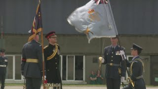 Prince Harry has presented a new Colour to the ground fighting force of the RAF at Honington in its 75th anniversary year. The Prince also read out a message sent by the Queen.