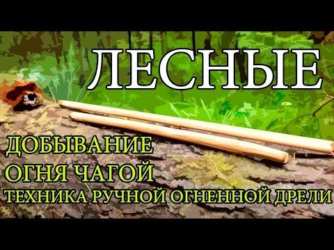 Добывание огня чагой | Техника ручной огненной дрели