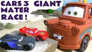 Video Cars 3 McQueen with GIANT Mater racing Jackson Storm & Funny Minions - Car toys for kids TT4U MP3, 3GP, MP4, WEBM, AVI, FLV Juli 2017