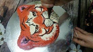 Bánh Sinh Nhật Tạo Hình Mặt Hổ 3D - How To Decorate Tiger Face 3D Cake