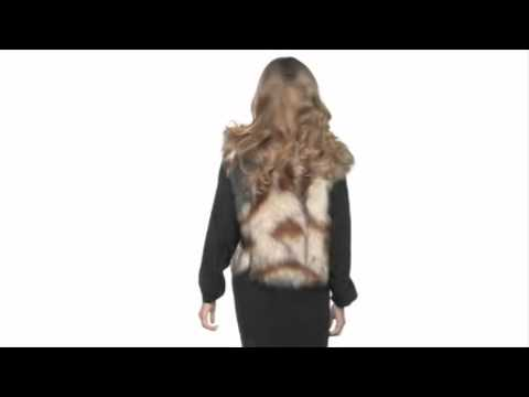 Twelfth Street by Cynthia Vincent Neck Beaded Cap Sleeve Faux Fur Vest SKU:#8012085