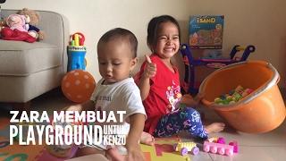 DIY - membuat playground dirumah - ada mandi bola, pasir kinetik, playdoh, odong odong & squishy Video