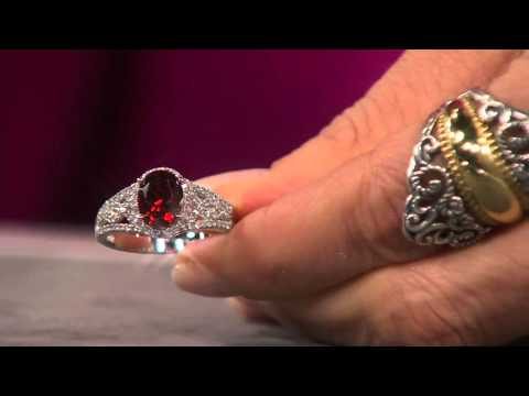 Diamonique Simulated Oval Garnet Ring, Platinum Clad on QVC