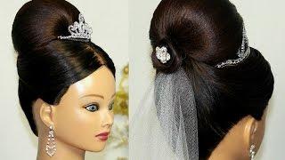 свадебные прически с челкой и фатой диадемой фото