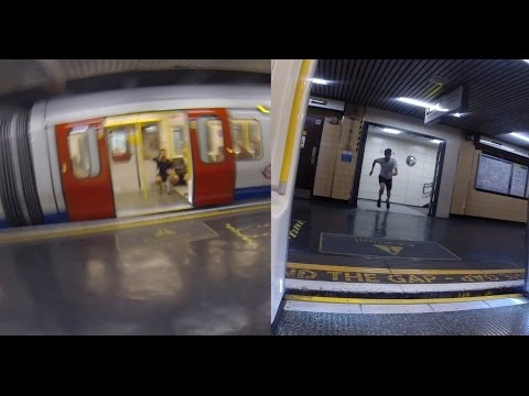Guy Races The Tube In London Split Screen