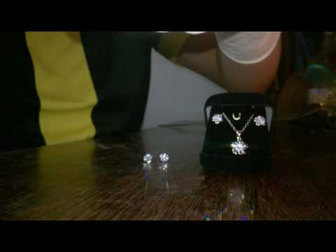 Emporio SemiJoias - Conjunto colar e brinco,Cristal Estilo Diamante banhado em prata