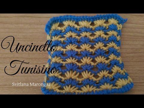 punto ventaglio ad archetti bicolore - tutorial uncinetto tunisino