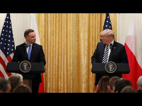 Donald Trump speaks at the White House with Polish president Andrzej Duda