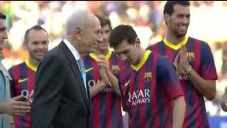 Funny! Lionel Messi Gets The Ball In The Tender Area By President Peres