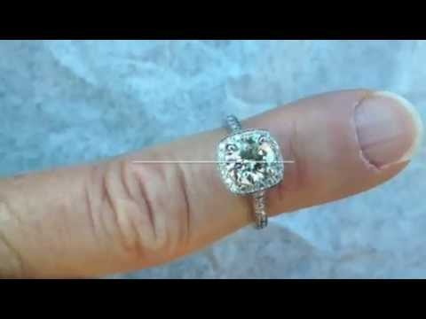 Custom Square Halo Diamond Engagement Ring
