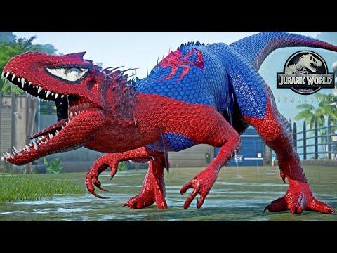 Spiderman Indominus REX, Venom, Captain America, Iron Man  Dino Fight - Jurassic World Evolution