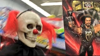 CREEPY CLOWNS CHASE FAT WWE TOY HUNTER AT WALMART! ROMAN REIGN...
