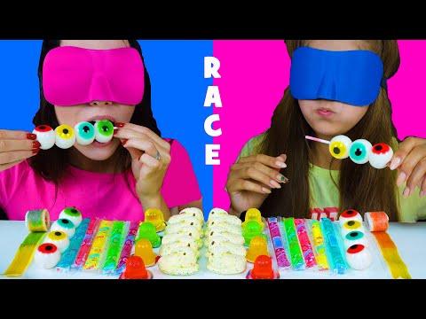 ASMR Candy Race with Closed Eyes (Gummy Eyeballs, Jelly Straws, Peeps Marshmallow)
