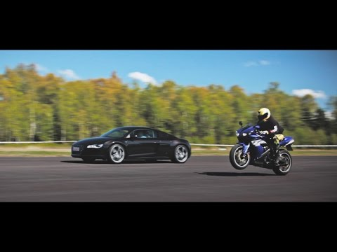 yamaha r1 drag racing vs 1000hp 9ff porsche gt2, rs6, r8 v10