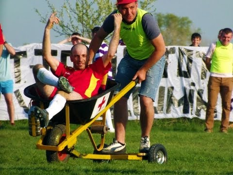Funny moment - Romanian side use motorised wheelbarrow to 'stretcher' injured player from pitch