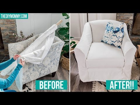 HOW TO MAKE A DIY SLIPCOVER + Summer Living Room Decor