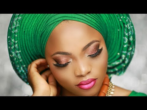 Nigerian Bridal Makeup Tutorial /  Pleated Gele.