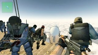 Counter Strike Source Zombie Escape mod online gameplay on ze_Flying_World_v2 map