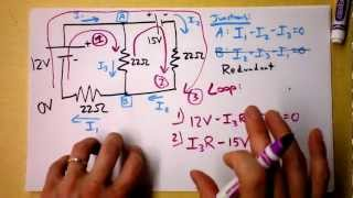 Kirchhoff's Rules (Laws) Worked Example | Doc Physics