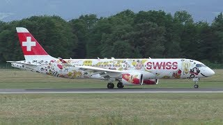 Inaugural landing of the Bombardier CSeries CS300 today and Swiss sent the HB-JCA with the