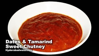 Dates Tamarind Sweet Chutney from Maimoona Yasmeen's RecipesIngredients:Tamarind/pakki imli: ½ cupFresh dates: ½ cupJaggery/gud: 2 tablespoonsSalt: ½ teaspoonCumin/zeera powder: 1/4th teaspoonRed chilli powder: 3/4th teaspoonProcedure:1. Soak de-seeded tamarind in ½ cup water for about 20 minutes.2. Grind together soaked tamarind along with its water, de-seeded fresh dates and jaggery into a very fine paste.3. Into this paste, add salt, cumin or zeera powder, red chilli powder and 1/4th cup water (or add water as per the desired consistency).4. Blend well.Dates Tamarind Sweet Chutney is ready.