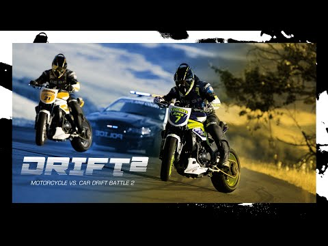Motorcycle - Download hi-res desktops from this video: http://iconmotosports.net/2012/01/7460/ The sequel to the Icon original video: Motorcycle vs. Car Drift Battle - Ni...