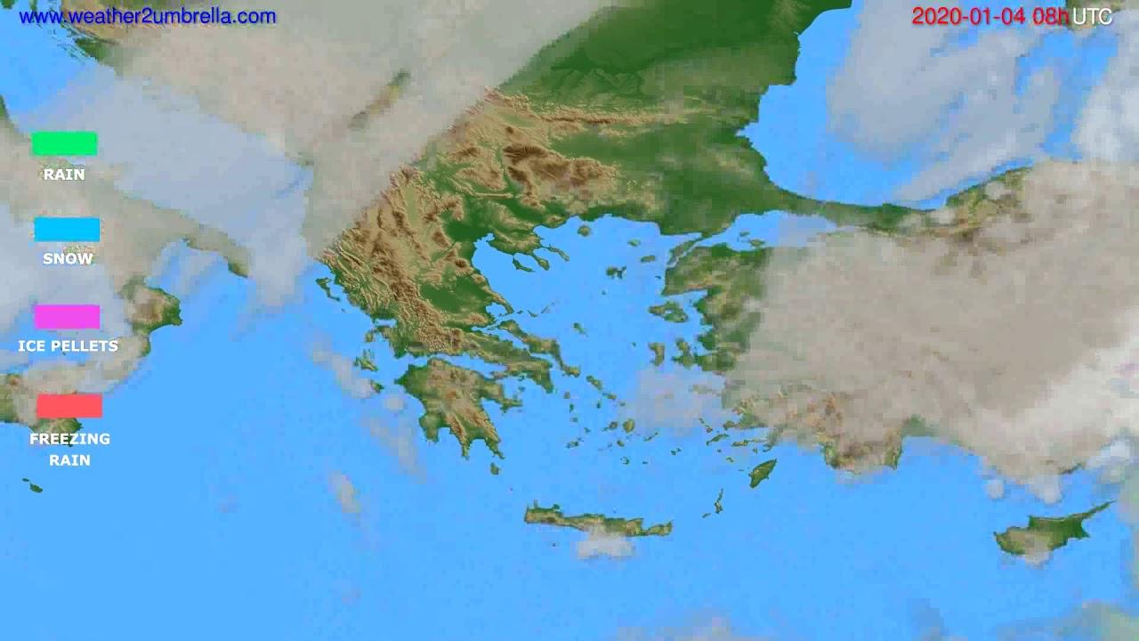 Precipitation forecast Greece // modelrun: 12h UTC 2020-01-03