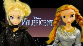 Frozen Elsa And Anna Watch Maleficent Movie With Princess Aurora Opening Night! Disney Barbie Doll E