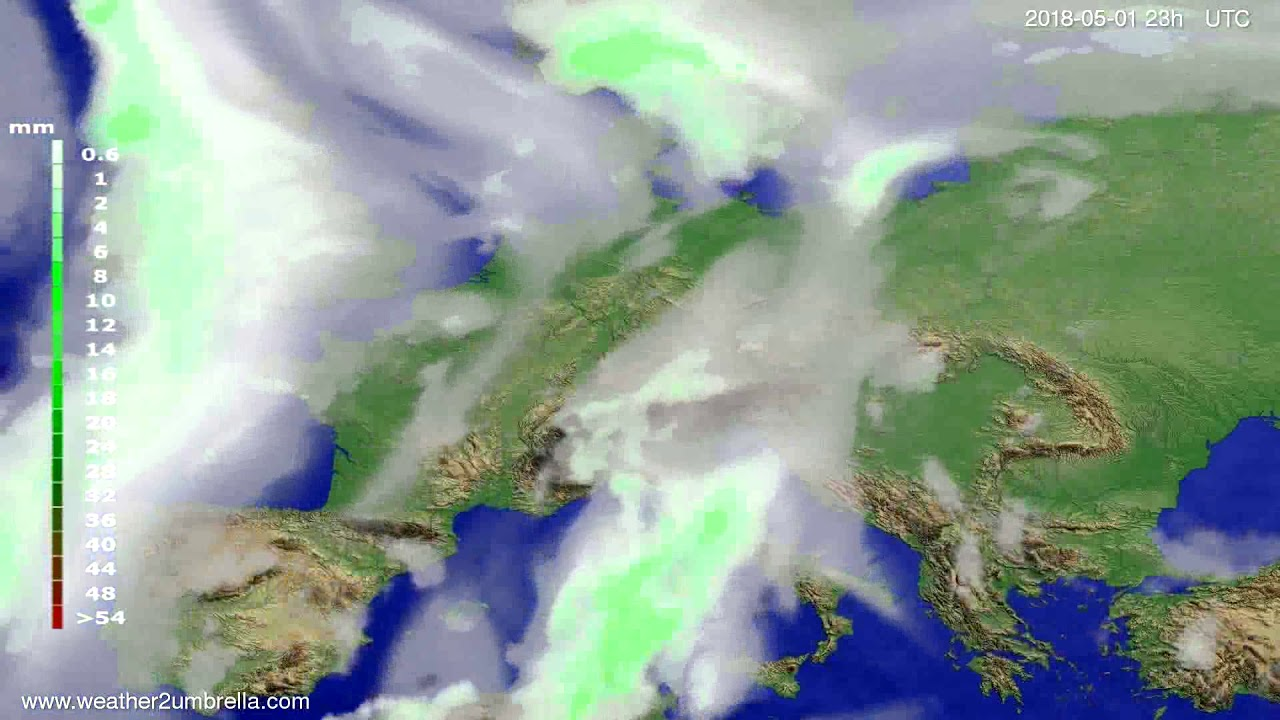 Precipitation forecast Europe 2018-04-28