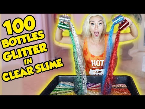 MIXING 100 BOTTLES OF GLITTER INTO CLEAR SLIME | SO SATISFYING