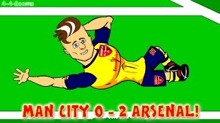 MAN CITY Vs ARSENAL FC 0-2 (Santi Cazorla Goals Highlights Giroud) By 442oons Football Cartoon