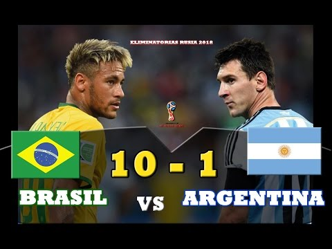 "Brasil 10 vs Argentina 1 - Amistoso Internacional - ""SIN MESSI NO SOMOS NADA"" - Parodia / Highlights"