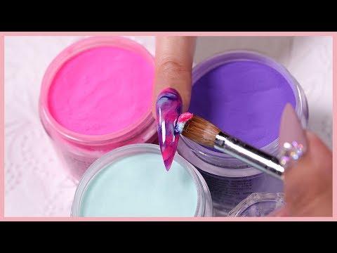 Acrylic nails - Water Color Marble  Acrylic Nail Art