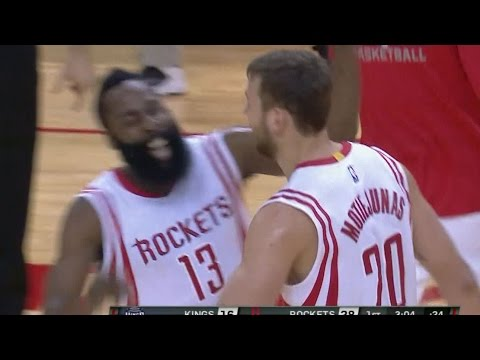 Donatas Motiejunas goes behind the back to Harden!
