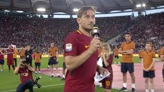 Watch Francesco Totti's emotional farewell speech to 70,000 fans at the Stadio Olimpico...Subscribe to AS Roma on YouTube: http://bit.ly/ASRoma_Welcome to the official Youtube channel of AS Roma.Roma Network is the destination for Giallorossi, lifestyle and entertainment. Il canale ufficiale Youtube dell'AS Roma.Roma Network è il mondo dell'intrattenimento e del lifestyle per i tifosi giallorossi di tutto il mondo.Facebook: https://www.facebook.com/officialasromaGoogle+: https://plus.google.com/u/1/+asroma/Instagram: https://instagram.com/officialasroma/Twitter: https://twitter.com/OfficialASRoma
