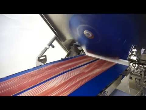 High speed slicer for pepperoni and bacon