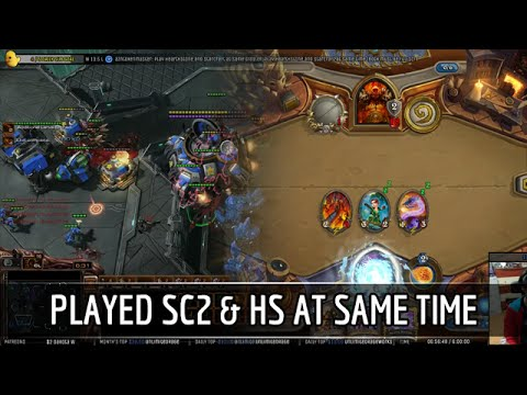 Ex-StarCraft pro plays a StarCraft II game and a Hearthstone match at the same time.