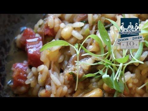 Dom Chapman creates a duck rice recipe with confit duck leg chorizo and coriander