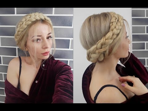 Short hair styles - EASY HAIRSTYLE HALO MILKMAID BRAID USING KANEKALON HAIR  Awesome Hairstyles