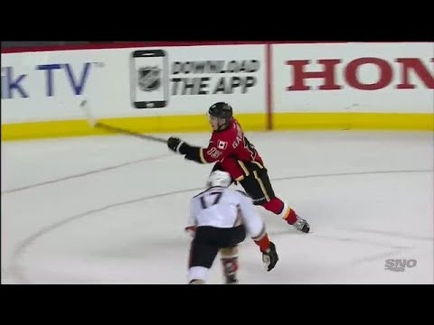Video: Gaudreau picks the top corner late to tie it