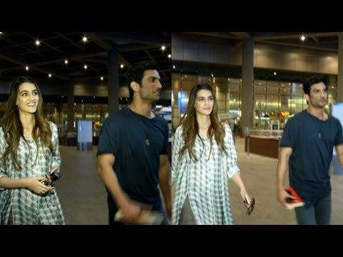 Kriti Sanon & Sushant Singh Rajput Spotted At Airport