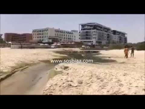 Tunisialaisen hotellin viemäri ja uimaranta samassa paikassa