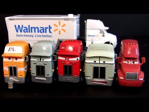 7 Pixar Cars Trucks Walmart Wally Hauler, Jerry Recycled Batteries Mattel diecast semi haulers toys