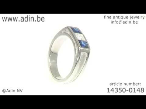 Platinum Art Deco mens ring with diamond and sapphires. (Adin reference: 14350-0148)