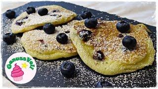 """Rezept für fluffige Buttermilch-Pancakes mit Blaubeeren  American Pancakes mit HeidelbeerenFolgt mir doch auch auf folgenden Plattformen. Ihr könnt mir darüber auch sehr gern Bilder von Euren Werken schicken :)FACEBOOK: https://www.facebook.com/GenussVoll88INSTAGRAM: https://www.instagram.com/genussvoll_yt/In diesem Video zeige ich Euch ein sehr schnelles und einfaches Rezept für super leckere und fluffige Pancakes mit Buttermilch und Blaubeeren.für ca. 10 Pancakes benötigt ihr:150g Mehl35g Zucker1 TL Backpulver1/2 TL Natroneine Prise Salz1 Ei250ml Buttermilch30g zerlassene ButterBlaubeerenIch wünsche Euch ganz viel Spaß beim Nachmachen und gutes Gelingen :) Lasst mir gern Feedback da!Eure AnnikaDas gezeigte Bildmaterial wurde ausschließlich von mir aufgenommen, daher besitze ich das volle Eigentumsrecht.Die Hintergrundmusik ist Gemafreie Musik zur freien Verwendung freigegeben.Music from Epidemic Sound (http://www.epidemicsound.com)__Meine BackutensilienRührmaschine: http://amzn.to/2btkk83 (ich habe das Vorgängermodell und bin sehr zufrieden!) *Handrührgerät: http://amzn.to/2cYnosL *Springform 26cm: http://amzn.to/2bC6XWb *Springform 18cm: http://amzn.to/2b0dVWp *Blechkuchen-Springform 38x25cm: http://amzn.to/2b0dQlv *Tortenring: http://amzn.to/2btl9O8 *Backrahmen: http://amzn.to/2btmlRr *Tarteform: http://amzn.to/2btk494 *Gugelhupfform: http://amzn.to/2b0fFit *Tortensäge: http://amzn.to/2b0g5W6 *Mein FilmequipmentKamera: http://amzn.to/2jqQFUi *Stativ: http://amzn.to/1RjWOq3 *Softbox: http://amzn.to/1RjWXde *Videobearbeitungsprogramm: http://amzn.to/1RiRUA7 ** Alle Amazon-Links und meine """"Stuffwe.Love""""-Shops enthalten Affiliate Links. Das bedeutet, ihr könnt mich darüber ganz einfach und für Euch ganz kostenfrei unterstützen, da ich einen geringen Prozentsatz des Verkauferlöses als Provision bekomme!"""