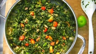 Using freshly harvested Jamaican Callaloo (aka spinach or chorai bhagi), Swiss Chard and Cherry Tomatoes from my garden to...