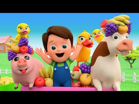 Old MacDonald Nursery Rhymes - Learn Fruits With Farm Animals