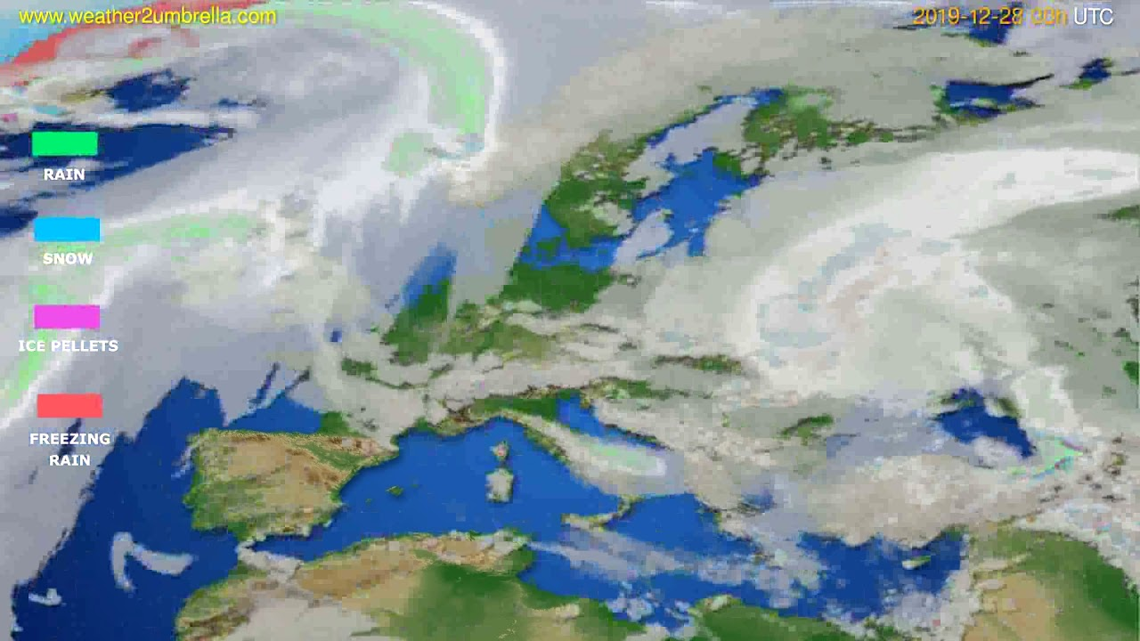 Precipitation forecast Europe // modelrun: 00h UTC 2019-12-27
